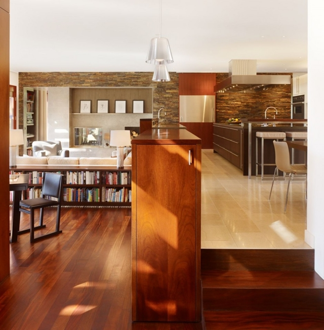 Wooden furniture in the Mandeville Canyon Residence
