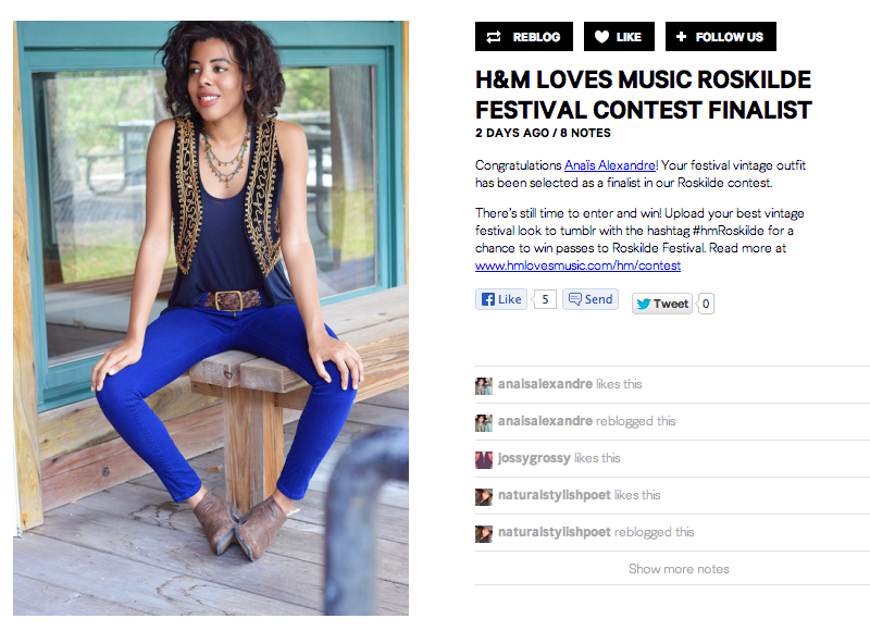 Miami Fashion and Indie Culture Blogger Anais Alexandre of Down to Stars is a selected finalist in the H&M Roskilde Contest