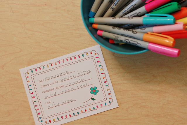 Kid's Printable Thank You Notes by Delightful Distractions