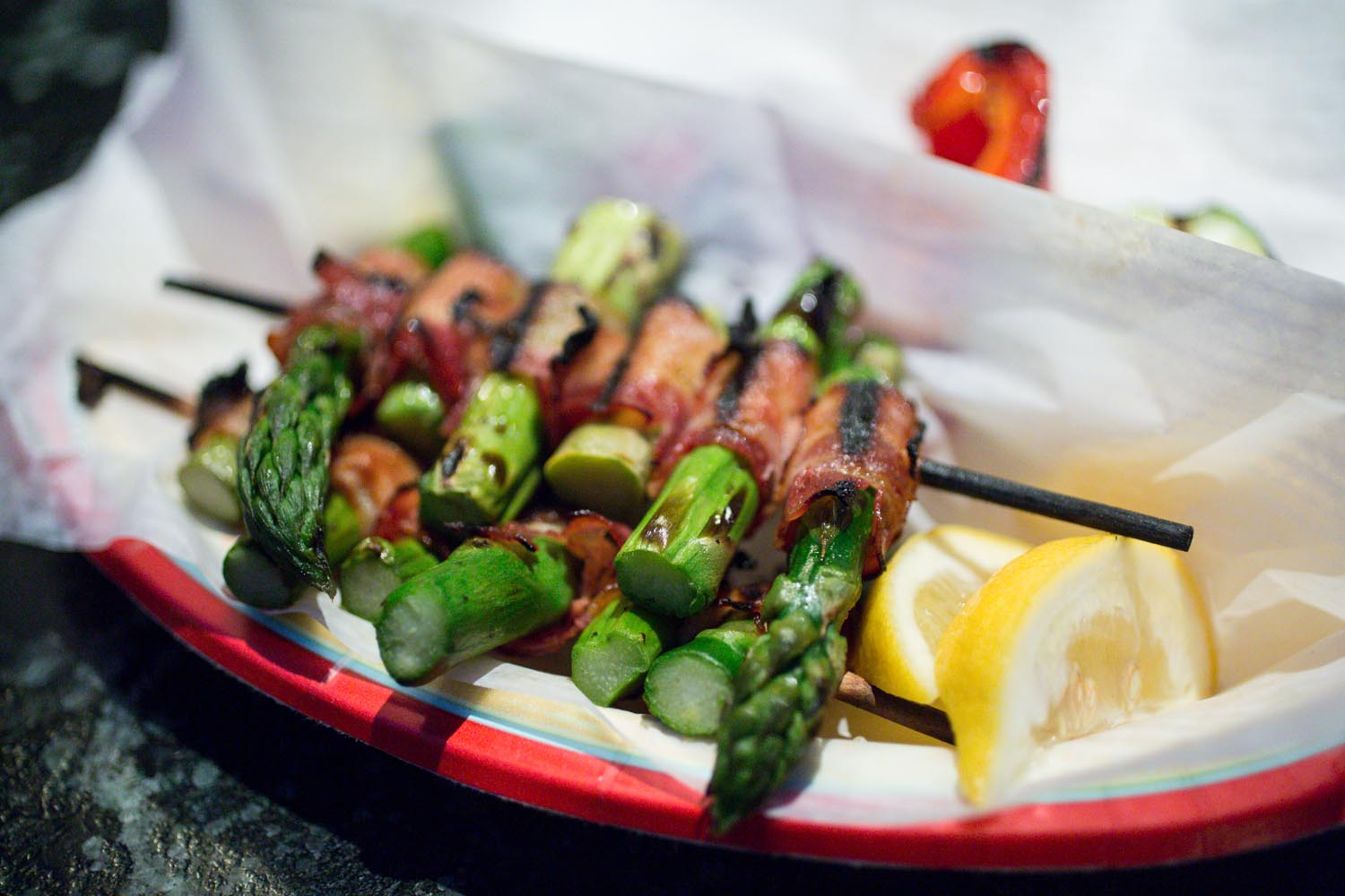 Disneyland Bangled Barbecue Bacon Wrapped Asparagus Skewers