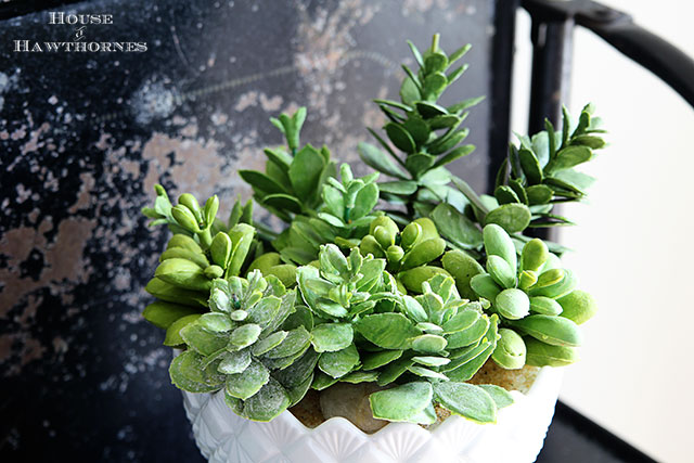Using rubber succulents in your home decor.  Includes a very simple tutorial to create a succulent dish.  via houseofhawthornes.com