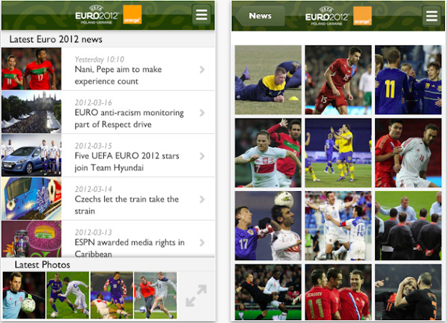 Official UEFA EURO 2012 app with Orange for Blackberry