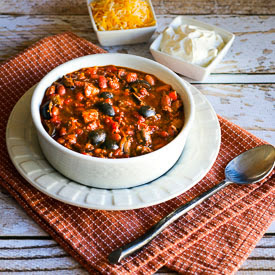 Easy Turkey Chili with Peppers, Mushrooms, and Olives found on KalynsKitchen.com