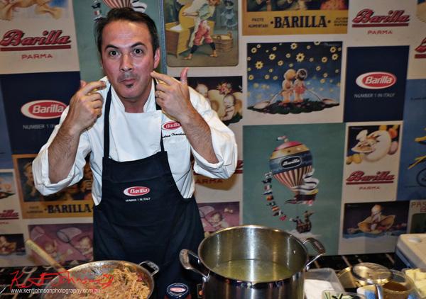 Chef Andrea Tranchero cooking Barilla pasta at the Sydney Italian Festival Launch - Street Fashion Sydney
