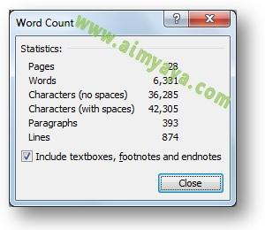 Gambar: Contoh menampilkan / mengetahui jumlah kata, baris, paragraf  atau yang lainnya di Microsoft Word