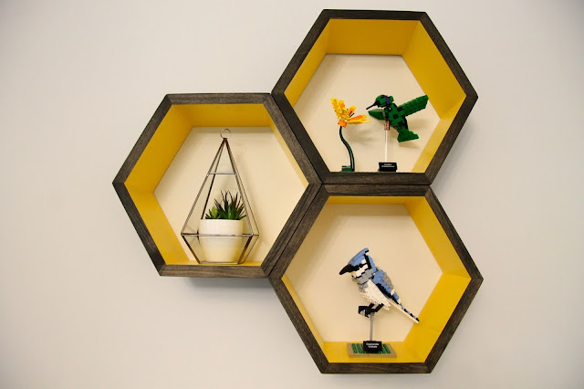 hexagonal yellow shelves
