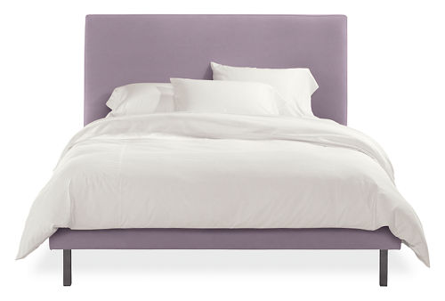 Queen upholstered bed in lilac colored fabric with metal legs
