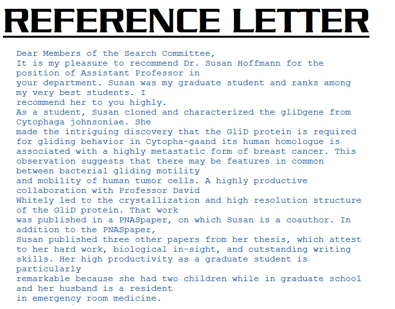 Reference Letters 3000: Sample Reference Letter