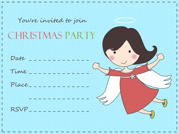 Free Love Quotes: Cute Angel Christmas Party Invitation