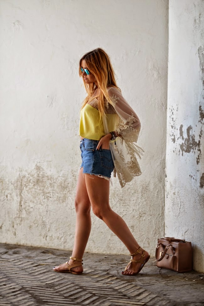 Wearing a Lace Kimono Cardigan with Yellow Top and Denim Shorts