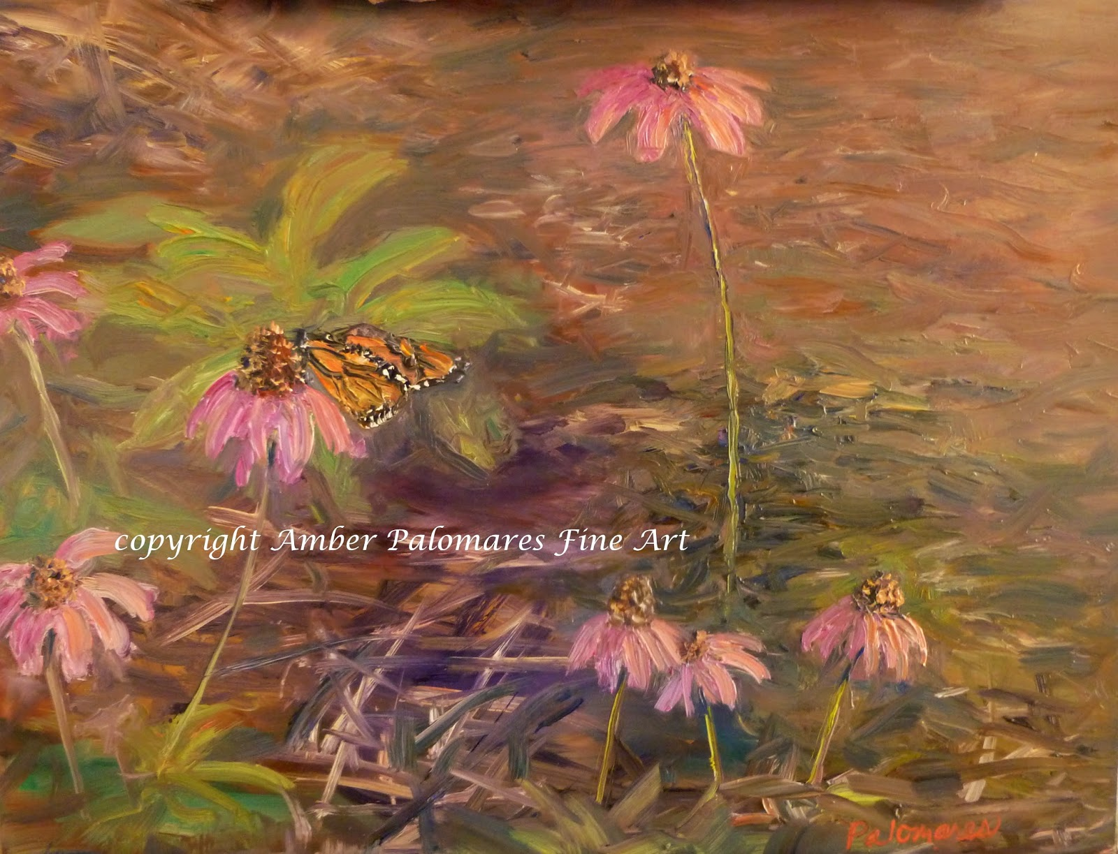 Landscape painting of Monarch journey butterfly garden coneflower