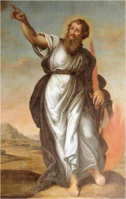 San Elias vestido con tunica, en su mano la espada flamigera y en el suelo el fuego de Dios