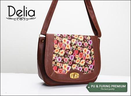 jual dompet wanita korea murah bunga delia cokelat