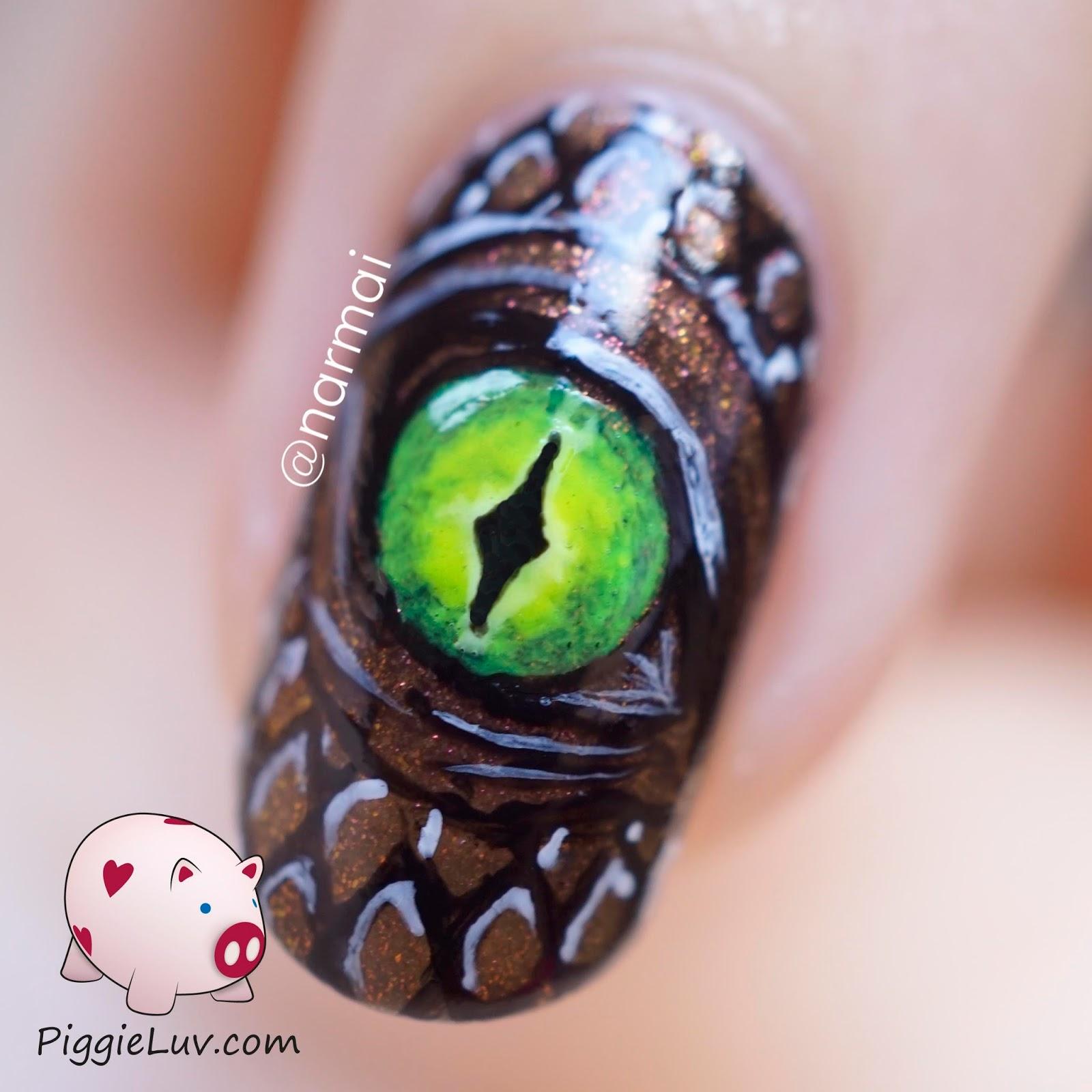 PiggieLuv: Glowmeleon dragon eye nail art