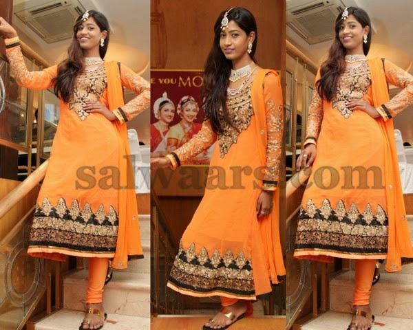 Sania Fathima Orange Churidar