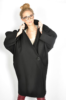 Vintage 1980's black wool cocoon coat