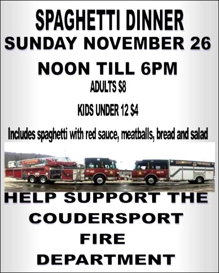 11-26 Spaghetti Dinner, Coudersport VFD
