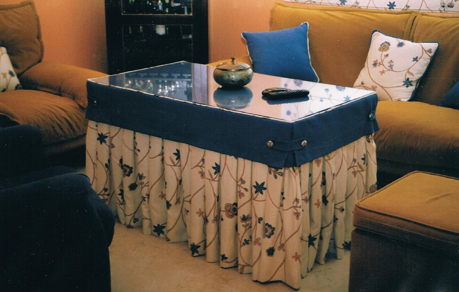 Patrones de costura falda de camilla regtangular con tablas - Como hacer una tarima para mesa camilla ...