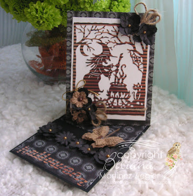 halloween twisted easel card front with petaloo flowers