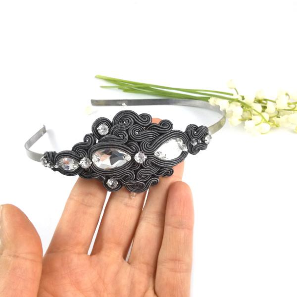 Szara opaska ślubna z kryształami Swarovski