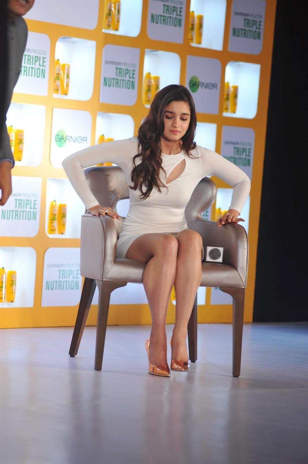 Alia Bhatt leg show in short dress at Garnier's new products launch ...
