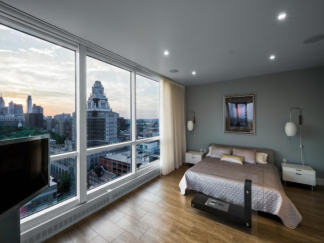 Photo of modern bedroom with the view of Philadelphia