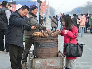 Roasted sweet potatoes on the street in Beijing