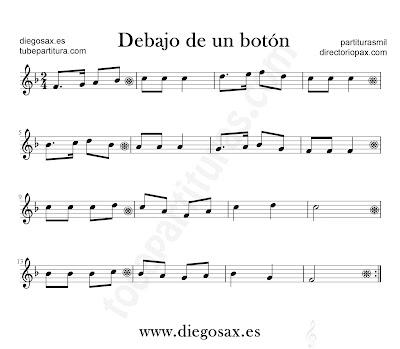 Debajo de un botón partitura para flauta, violín, saxofón alto, trompeta, clarinete, soprano sax, tenor, oboe, corno inglés, barítono, trompa, fliscorno... en clave de Sol