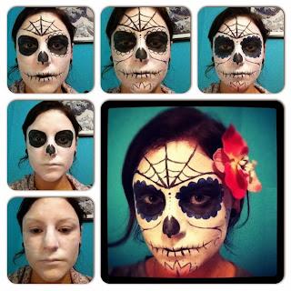 Caras Pintadas para Halloween, Diseño Calavera con Telas de Araña