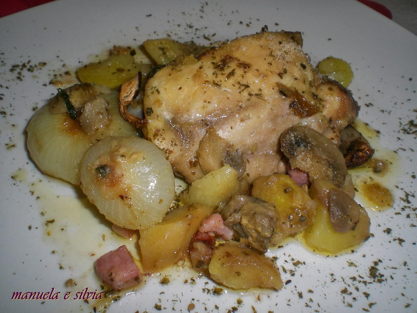 teglia ricca di pollo, cipolline borettane, patate e funghi