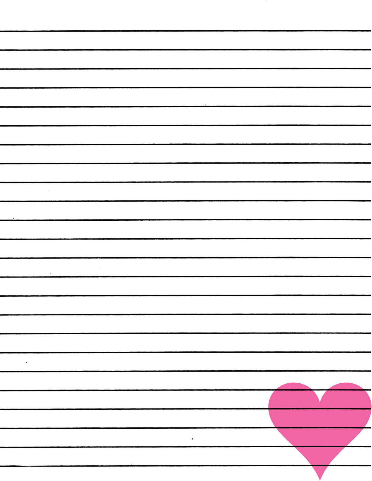 Just Smashing Paper FREEBIE Pink heart lined paper printable