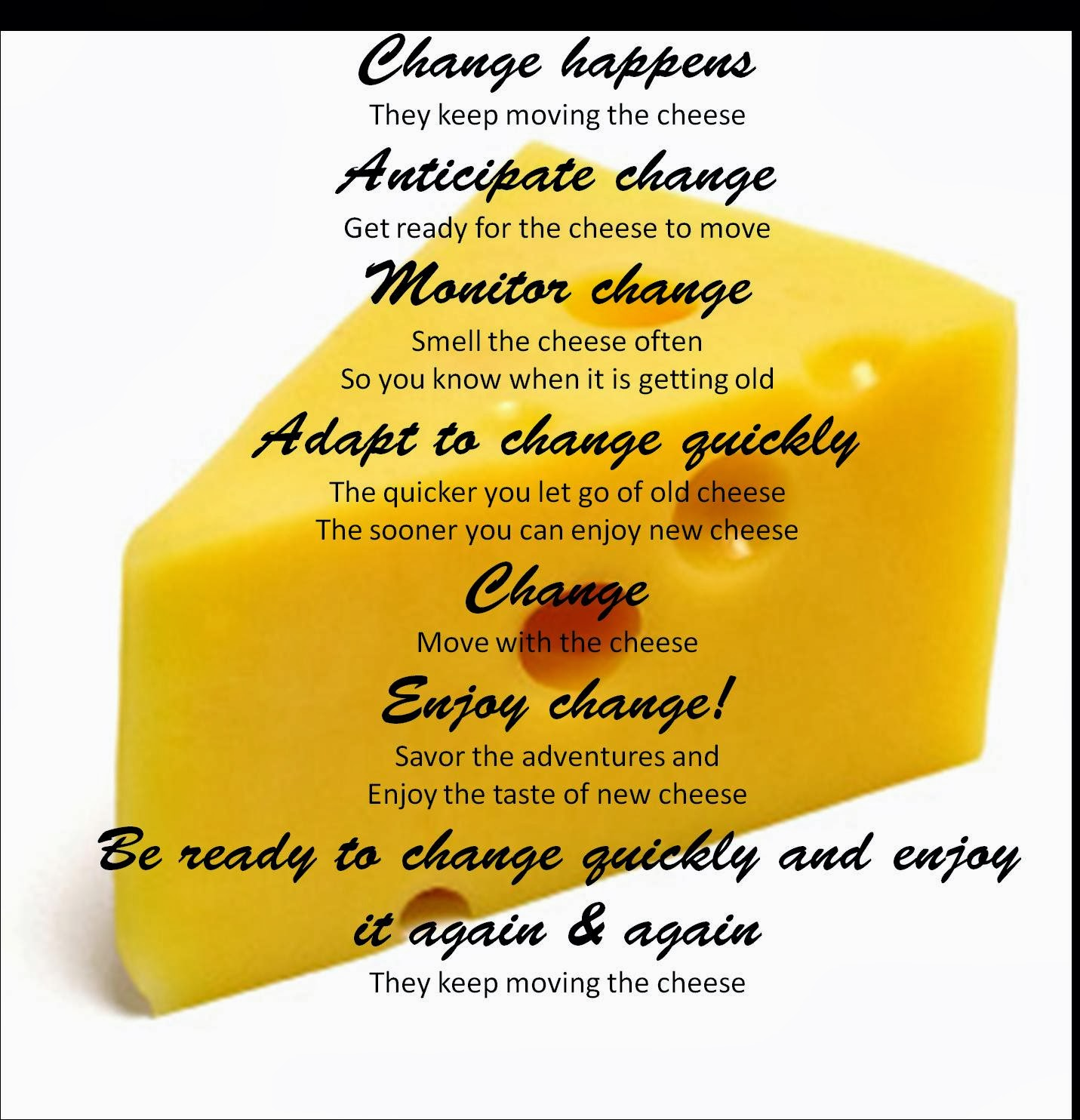 essay on the book who moved my cheese Who moved my cheese essay  part one: you will read  who moved my cheese is a book about the different ways people handle change in their life the story begins .