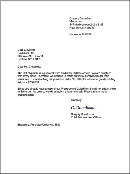 kind of business letters order letter - Kind Of Business Letter