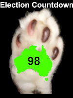 Image of Mr Bumpy's paw with a map of Australia inside.  Text: Election Countdown 98