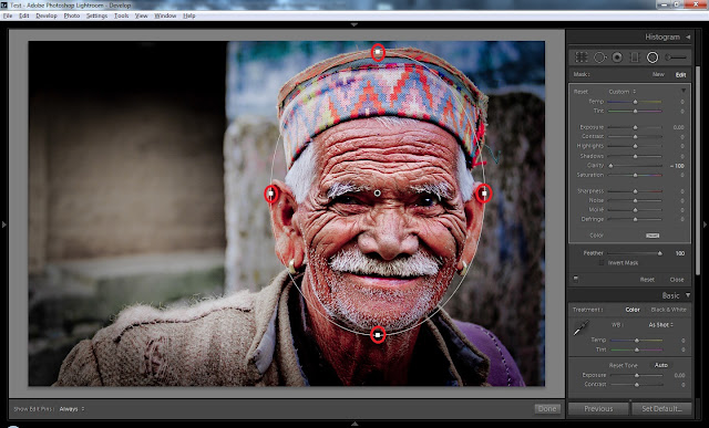 Adobe launched 'Adobe Photoshop Lightroom 5.0 Beta' on 15th April 2013 and it's freely available for everyone at - http://labs.adobe.com/technologies/lightroom5/ . After installation on Windows7 machine, I noticed Radial Filter on top part of Develop Module in 5th version of Lightroom. Let's check out what exactly this tool does and how it makes difference to photographs.After opening above photograph in Lightroom 5.0, select Radial Filter tool on right side of gradient tool. Now select face with Radial filter and give appropriate shape to the selection. Around this circle, there are some white dots which help in resizing this selection. On the right, there are different sliders through which we can control exposure, contrast etc. Whatever we change, that only impacts outside the selected region. Just have a look at image below and you will get a sense. In this photograph blacks have been enhanced along with reducing clarity. I just spent 3-4 minutes on this photograph and this feature can be quite interesting.But I wish that we could have option to select multiple areas in a photograph.