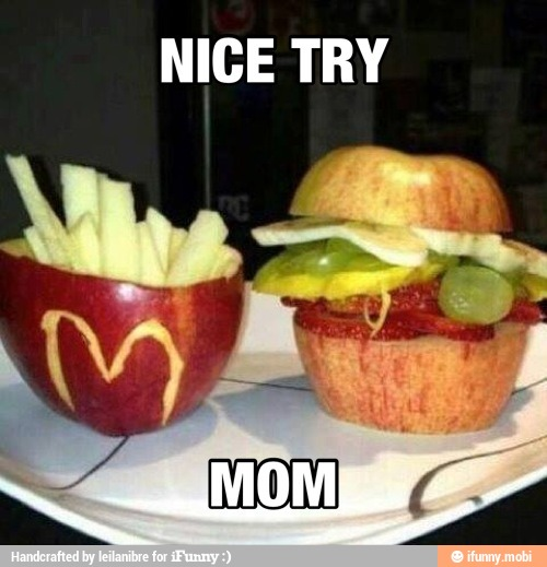 Nice try Mom. Apple burger with Celery as fries.