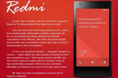 Xiaomi Redmi Siap Diluncurkan Akhir 2014