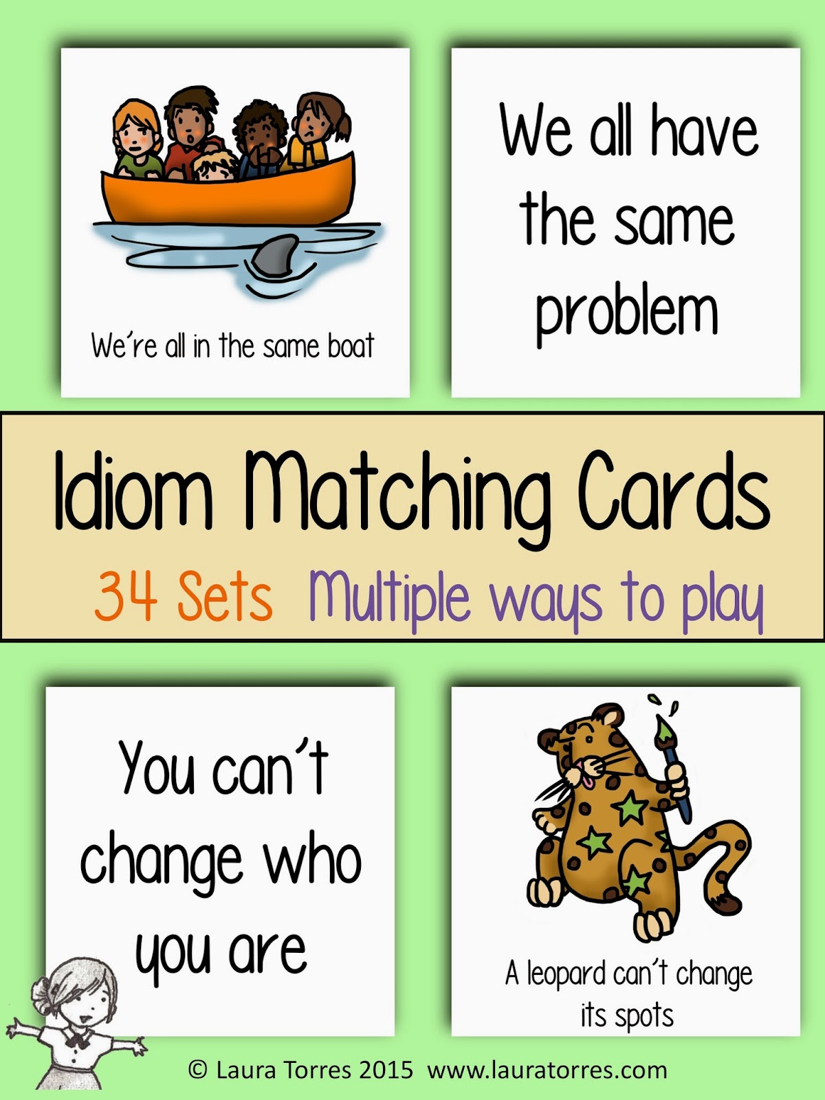 http://www.teacherspayteachers.com/Product/Idiom-Matching-Cards-1630536