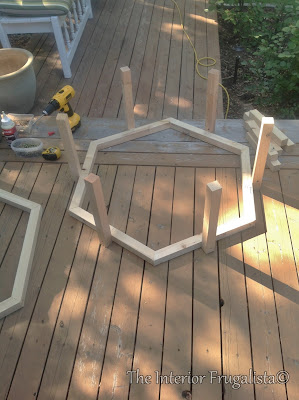 Fire Bowl Table constructed with 2 x 2's.