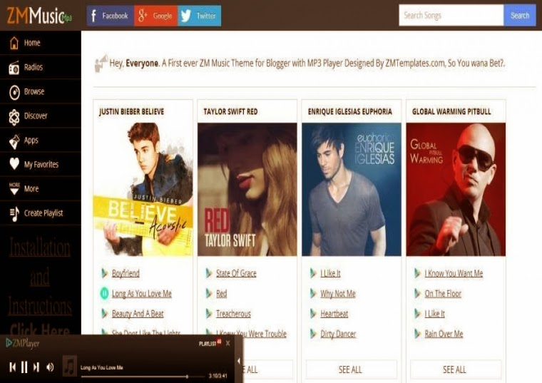 ZM MUSIC Responsive Mp3 Player Album Blogger Template Free Download