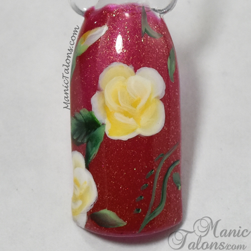 One Stroke Nail Art Roses