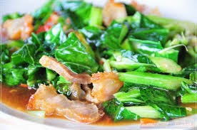 Fried Chinese Kale with Crisp Pork (Khana Mu Krop) : Vegetables ...