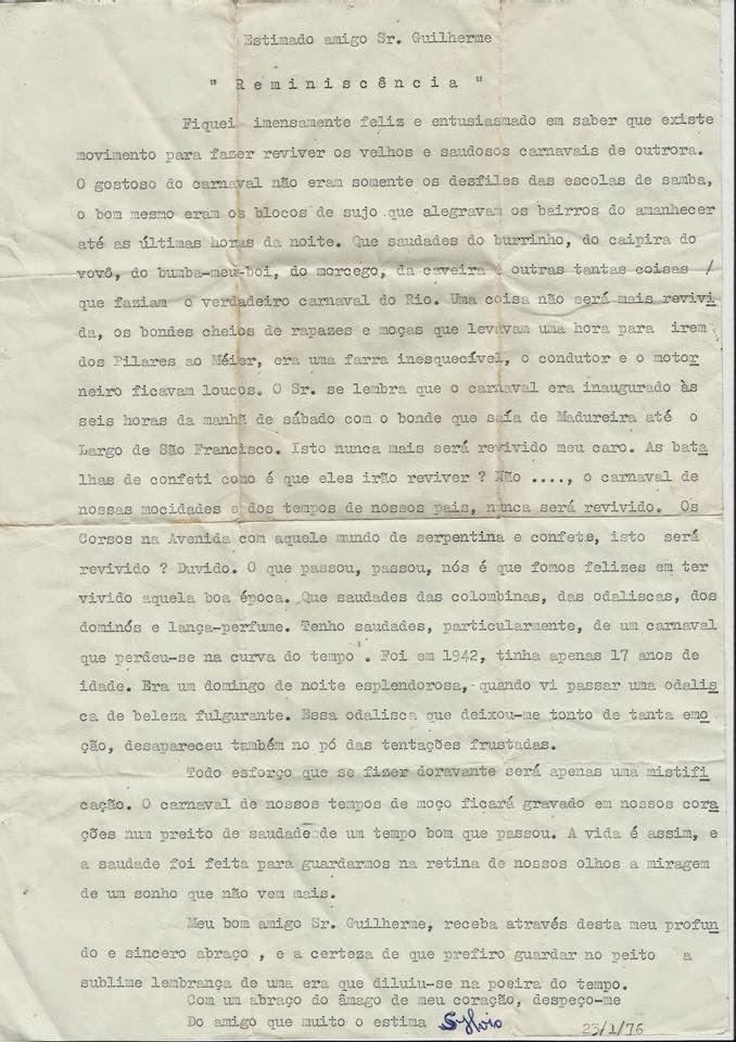 Imagem da carta original recebida pelo Sr. Guilherme