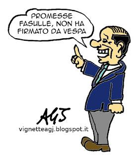 Renzi, tasse, berlusconi, promesse, satira vignetta