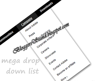 Stylish Mega List Drop Down CSS3 Navigation Menu Bar for blogger