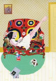 illustration by dutch born illustrator robert wagt of a girl reading on a suzani couch