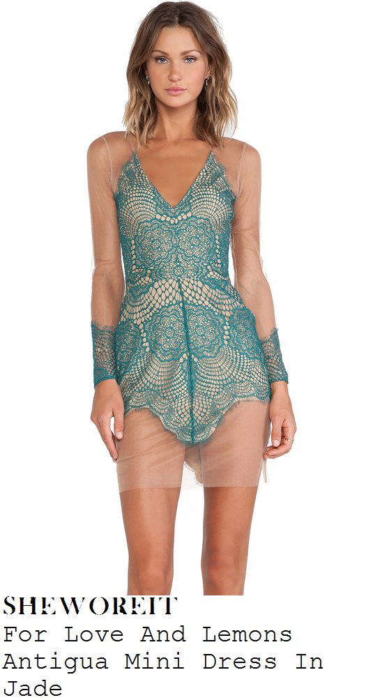 sam-faiers-green-lace-nude-mesh-long-sleeve-v-neck-mini-dress