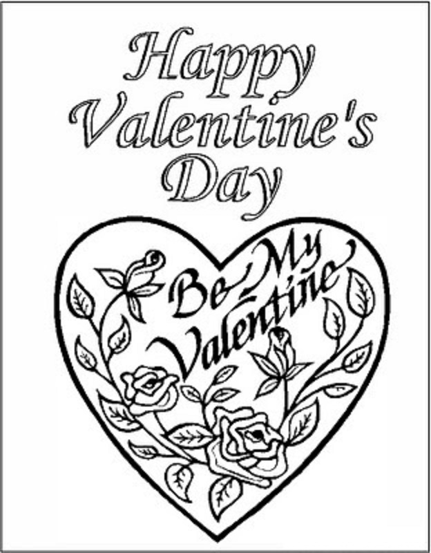 Heart And Flower Coloring Pages title=