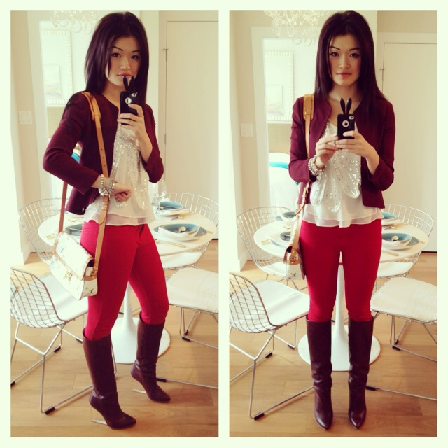 Chinese New Year Red outfit, Aritizia red pants, aritzia maroon blazer, lv purse, outfit