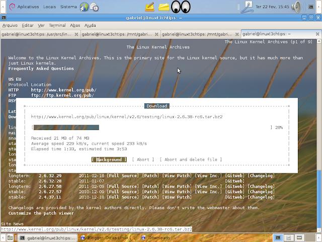 taxa de progresso ao baixar o kernel pelo terminal